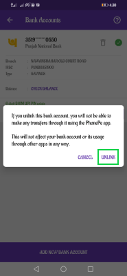 how to delete bank account in Phonepe wallet