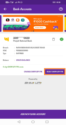 how to change the upi pin in phonepe